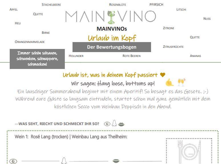 Sommer-Weinprobe Bewertungsbogen